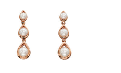 9ct Rose Gold 3 Pearl Drop Earrings