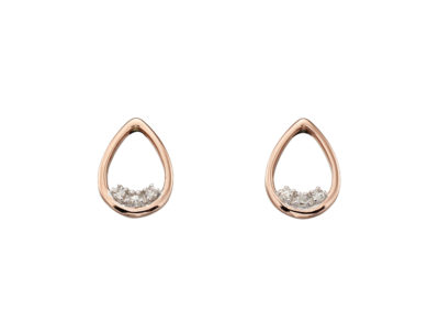 9ct Rose gold Teardrop Dainty Diamond Stud Earrings