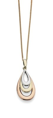 9ct Rose, Yellow and White gold teardrop pendant