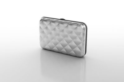 OGON Silver Quilted Button Press Card Case Wallet
