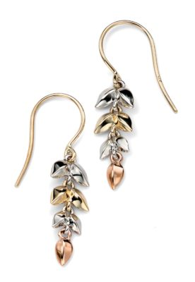 9ct Yellow, White and Rose Gold Leaf pattern earrings