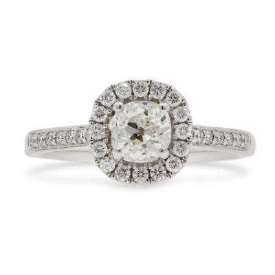 Platinum Old Cushion Cut Diamond Halo Ring.