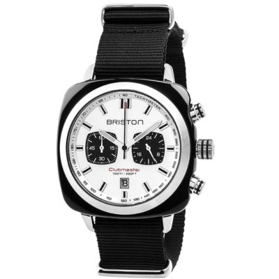 Briston Chronograph Black Acetate, White Dial and Black Nato Strap