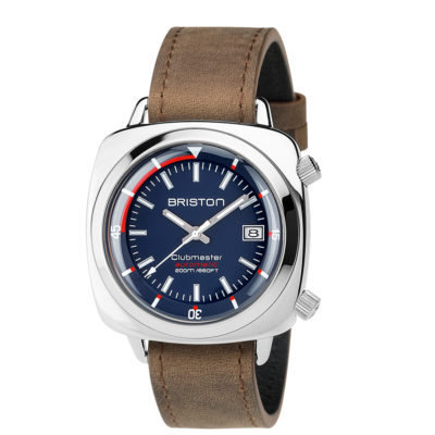 Briston HMS Automatic Polished Steel, Navy Blue Dial and Vintage Leather Strap