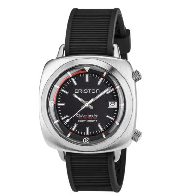 Briston HMS Automatic Brushed Steel, Black Dial and Black Silicone Rubber Strap