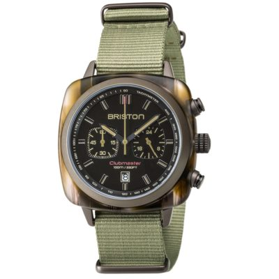 Briston Chronograph Matt Wood Green Tortoise Shell Acetate, Matt Black Dial and Green Nato Strap