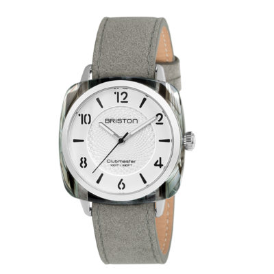 Briston HMS Chic 4 Airs Patterned Acetate, White Dial and Grey Suede Strap