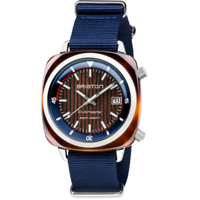 Briston HMS Automatic Tortoise Shell Acetate, Walnut Wooden Dial and Navy Blue Nato Strap