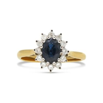 Pre-Owned 18ct Yellow & White Gold Sapphire and Diamond Cluster Ring
