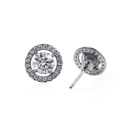 Carat Sterling Silver Halo Set Rhodium Plated Brilliant Cut Stud Earrings