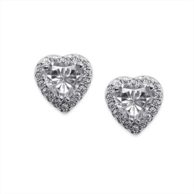 Carat Sterling Silver Halo Set Heart Shaped Studs