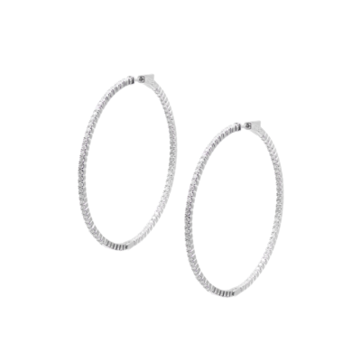 Carat Sterling Silver 'Paloma' Round Brilliant Cut Hoop Earrings