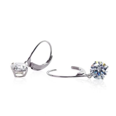 Carat 9ct White Gold Round Brilliant Cut Claw Set Drop Earrings