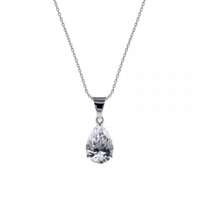 Carat 9ct White Gold Pear Shaped Pendant