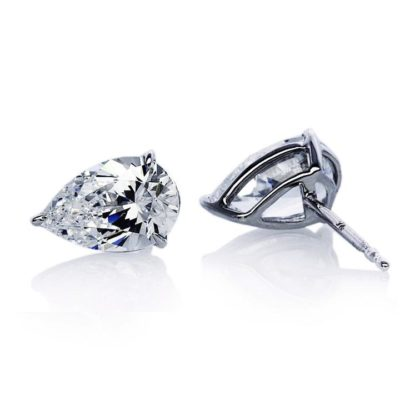 Carat 9ct White Gold Pear Shaped Stud Earrings