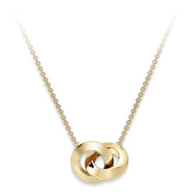 9ct Yellow Gold Interlinked Rings Necklace