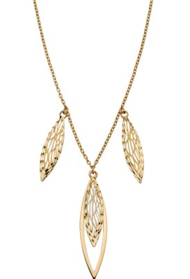9ct Yellow Gold Triple Leaf Design Necklace