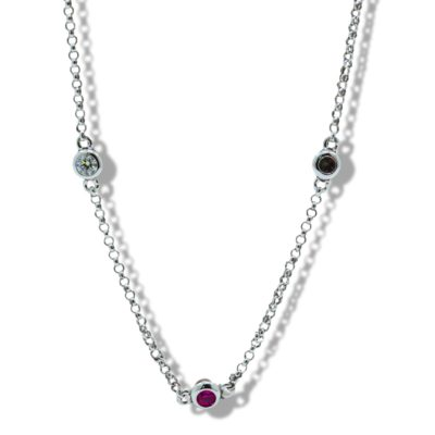 9ct White Gold 'Ruby & Diamond By The Inch' Design Bracelet