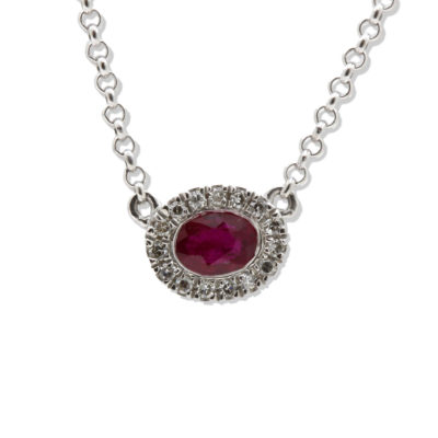 9ct White Gold Diamond & Ruby Oval Halo Necklace