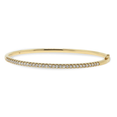 9ct Yellow Gold Hinged Bangle Claw Set With Round Brilliant Cut Diamonds