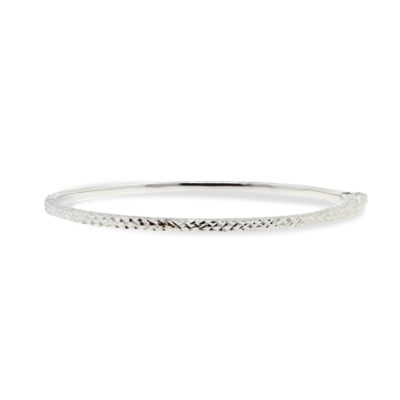 9ct White Gold Hollow Oval Hinged Faceted Textured Bangle