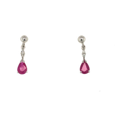 9ct White Gold Ruby And Diamond Pear Drop Earrings.