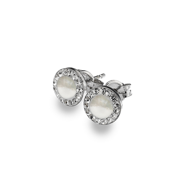 9ct White Gold Mother Of Pearl And CZ Set Halo Stud Earrings.