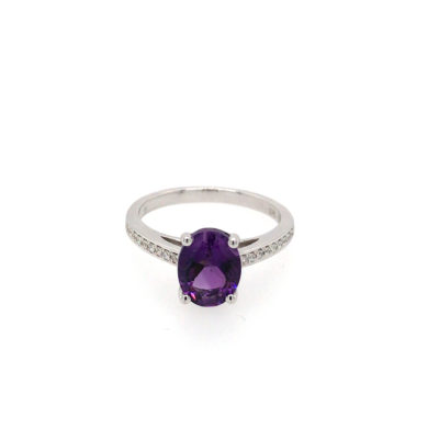 9ct White Gold Oval Amethyst And Brilliant Cut Diamond Dress Ring.