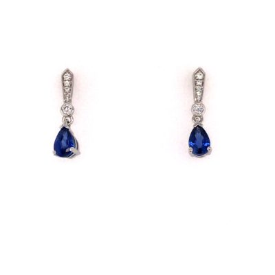 18ct White Gold Pear Shape Sapphire And Diamond Drop Earrings.