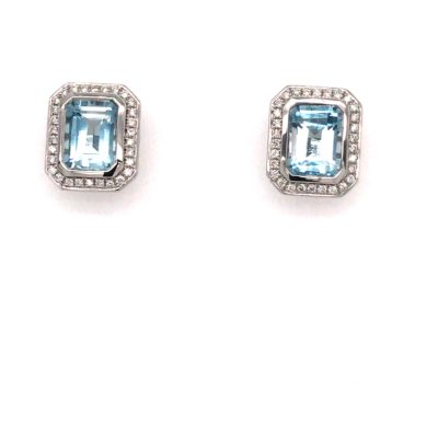9ct White Gold Blue Topaz And Diamond Halo Stud Earrings.